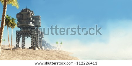 Sunny tropical seafront and beach huts on a futuristic science fiction world, 3d digitally rendered illustration