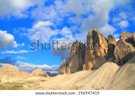 Sunny valley in front of Tre Cime di Lavaredo, Dolomite Alps, Italy