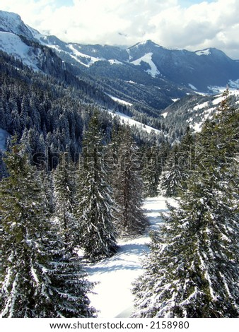sunny valley in ski mountain with - horizontal shot. sky view - stock photo