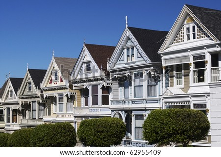 sunny victorian houses on postcard row - stock photo