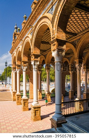 Sunny view of Colonnade of Plaza de Espana in Seville, Andalusia province, Spain.
