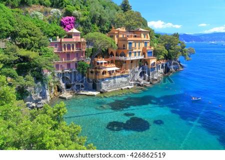 Sunny villas near the Mediterranean sea in Portofino, Italy - stock photo