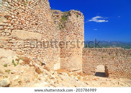 Sunny walls of Larissa Kastro built on top of hill near Argos, Greece - stock photo