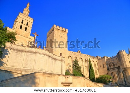 Sunny walls of the Cathedral and Papal Palace (Palais des Papes) in Avignon, Provence, France - stock photo