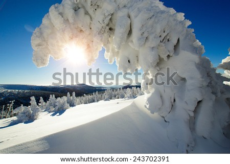Sunny winter day in high mountains Alps Austria - stock photo