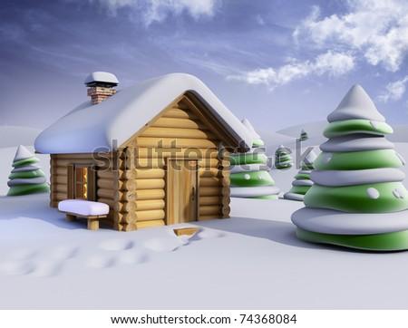 sunny winter landscape - stock photo
