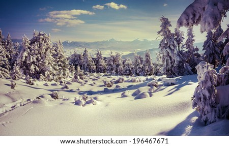 Sunny winter landscape in the mountains. Retro style. - stock photo
