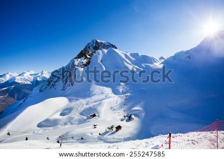 Sunny winter landscape of Caucasus mountains - stock photo