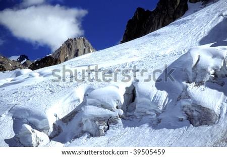 Sunny winter landscape on Mount McKinley in Alaska - stock photo