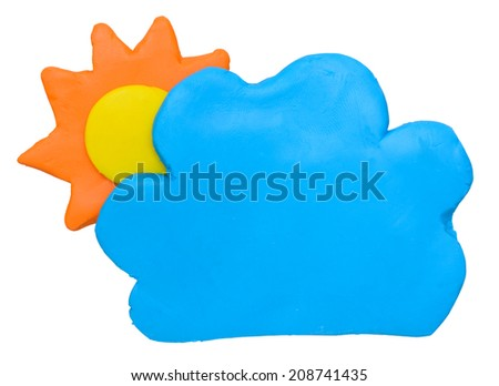 Sunny with some cloud weather forecast icon symbolplasticine clay on white background - stock photo