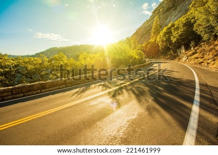 Sunny Yosemite Road in Summer. Yosemite, California USA. - stock photo