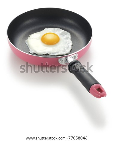 Sunnyside up fried egg in frying pan - stock photo