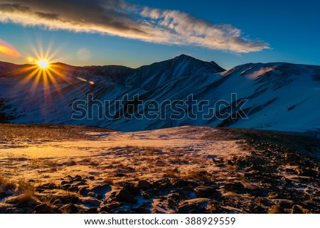 Sunrise Above Loveland Pass - stock photo