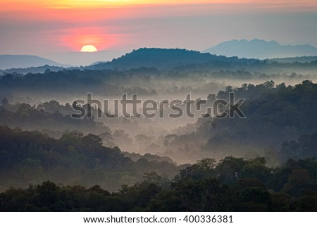 sunrise above mountains and tropical rain forest with thick mist. nature landscape.
