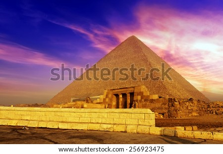 Sunrise above the great Pyramid in Cairo