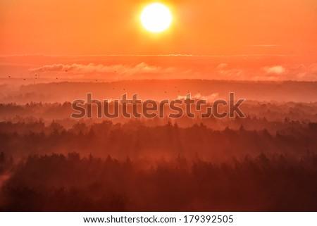 Sunrise,  aerial view - stock photo