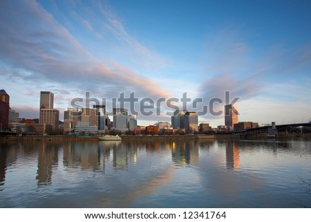 Sunrise along portland waterfront oregon - stock photo