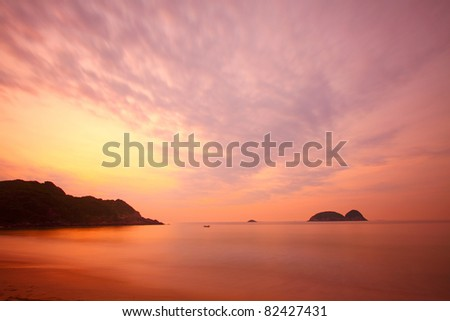 Sunrise along the coast in Hong Kong - stock photo