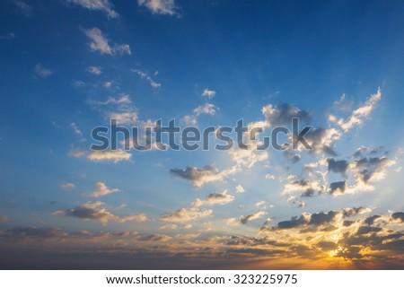 sunrise and beautiful sky - stock photo