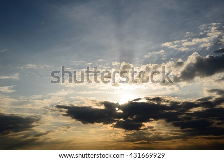 Sunrise and dark cloud in the morning ,thailand
