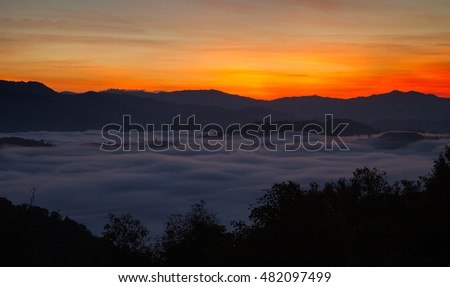 Sunrise and fog in the mountains