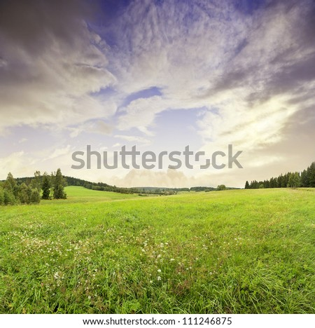 sunrise and summer meadow - stock photo