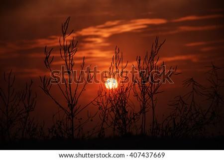 Sunrise and sunset views. - stock photo