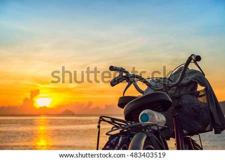 Sunrise and the bicycles at Nha Trang beach