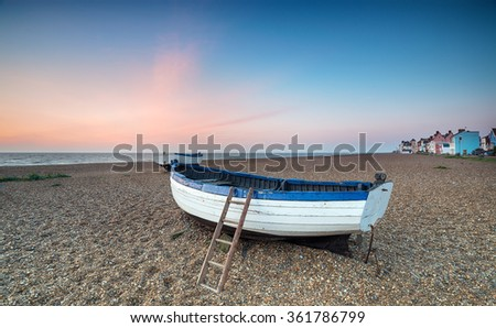 Sunrise at Aldeburgh, a pretty fishing village on the Suffolk coast - stock photo