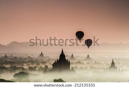 Sunrise at Bagan, Myanmar - stock photo