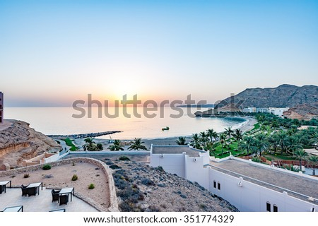Sunrise at Barr Al Jissah in Oman. It is located about 20 km east of Muscat.