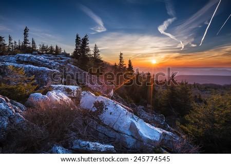 Sunrise at Bear Rocks  Dolly Sod preserve, WV. - stock photo