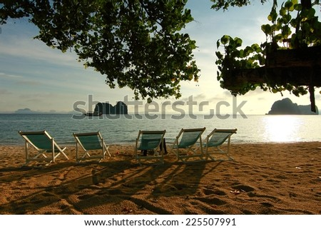 Sunrise at Beautiful beach in trang thailand