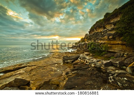 Sunrise at Bondi Beach in NSW, Australia  - stock photo