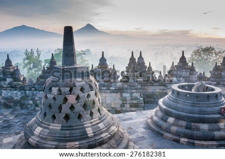 Sunrise at Borobudur Temple, Yogyakarta, Java, Indonesia.