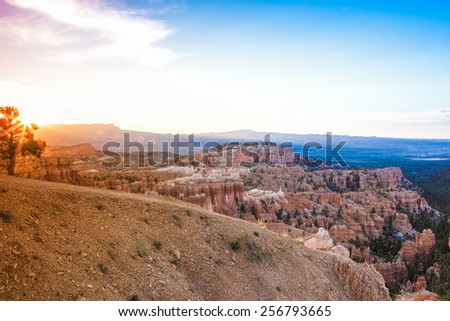 Sunrise at Bryce Canyon as Viewed From Sunrise Point at Bryce Canyon National Park,in  Utah, United States of America. Horizontal Image Composition - stock photo