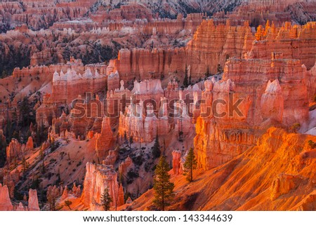 Sunrise at Bryce canyon national park, Utah - stock photo