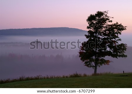 Sunrise at Canaan Valley Resort State Park in Autumn Horizontal - stock photo