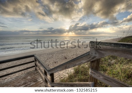 Sunrise at Canaveral National Seashore in Florida - stock photo