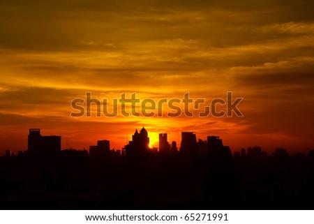 Sunrise at city of Bangkok, Thailand - stock photo