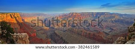 Sunrise at Desert View Drive, Grand Canyon National Park, Arizona, USA - stock photo