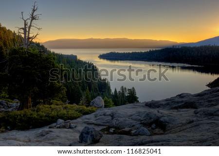 Sunrise at Emerald Bay - Lake Tahoe - stock photo
