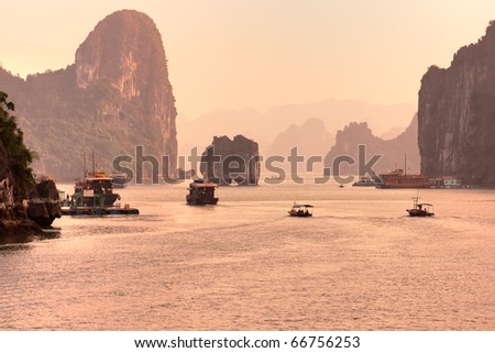 Sunrise at Halong Bay, Vietnam. Unesco World Heritage Site. Most popular place in Vietnam. - stock photo