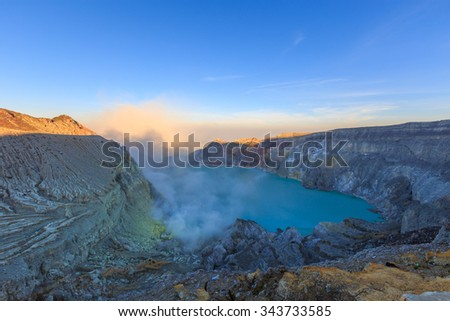 Sunrise at Kawah Ijen Volcano, East Java island, Indonesia - stock photo