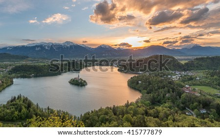 Sunrise at lake Bled from Osojnica viewpoint