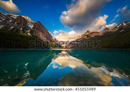 Sunrise at Lake Louise in Banff, Alberta, Canada - stock photo