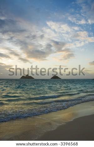 sunrise at lanikai beach in hawaii - stock photo