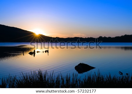 Sunrise at Locust Lake State Park,Pennsylvania - stock photo