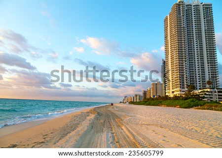 Sunrise at Miami Beach, Florida.  - stock photo