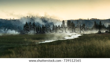 Sunrise at Midway Geyser Basin in Yellowstone National Park Wyoming, USA